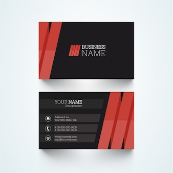 Black business card with red tape