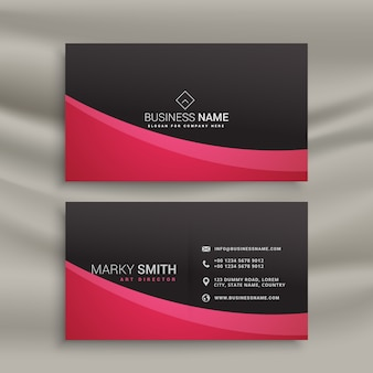 Black business card with red wavy shapes