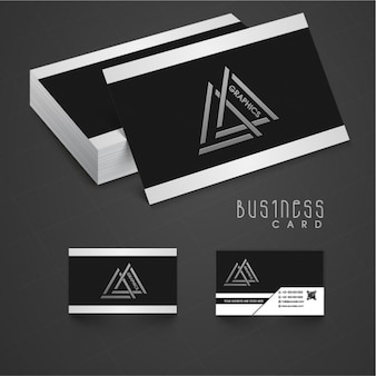 Black business card with white details