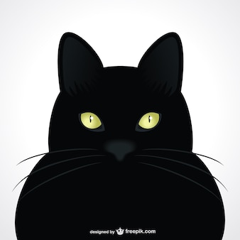 Black cart green eyes vector portrait