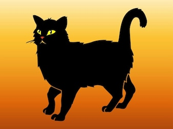 Black cat walking animal sticker