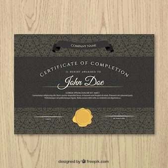 Black certificate of achievement with a gold seal