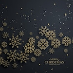 Black christmas background with golden snowflakes