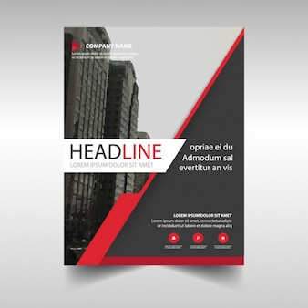 Black corporate brochure with red lines
