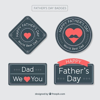 Black father's day badge