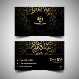 Black Floral visiting card