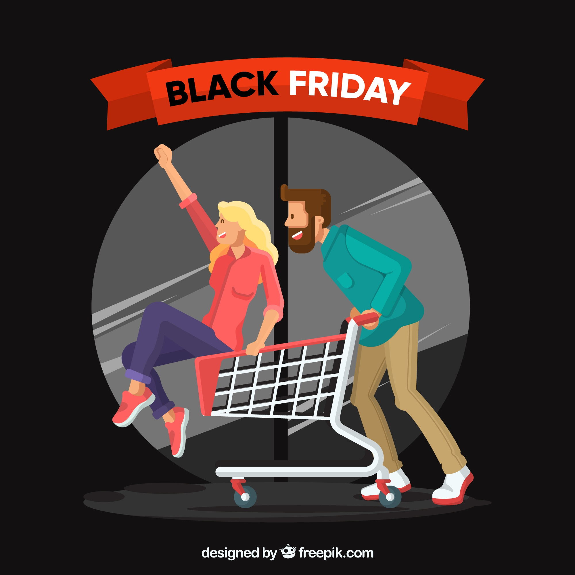 Black friday background with characters