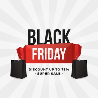 Black friday background with red ribbon