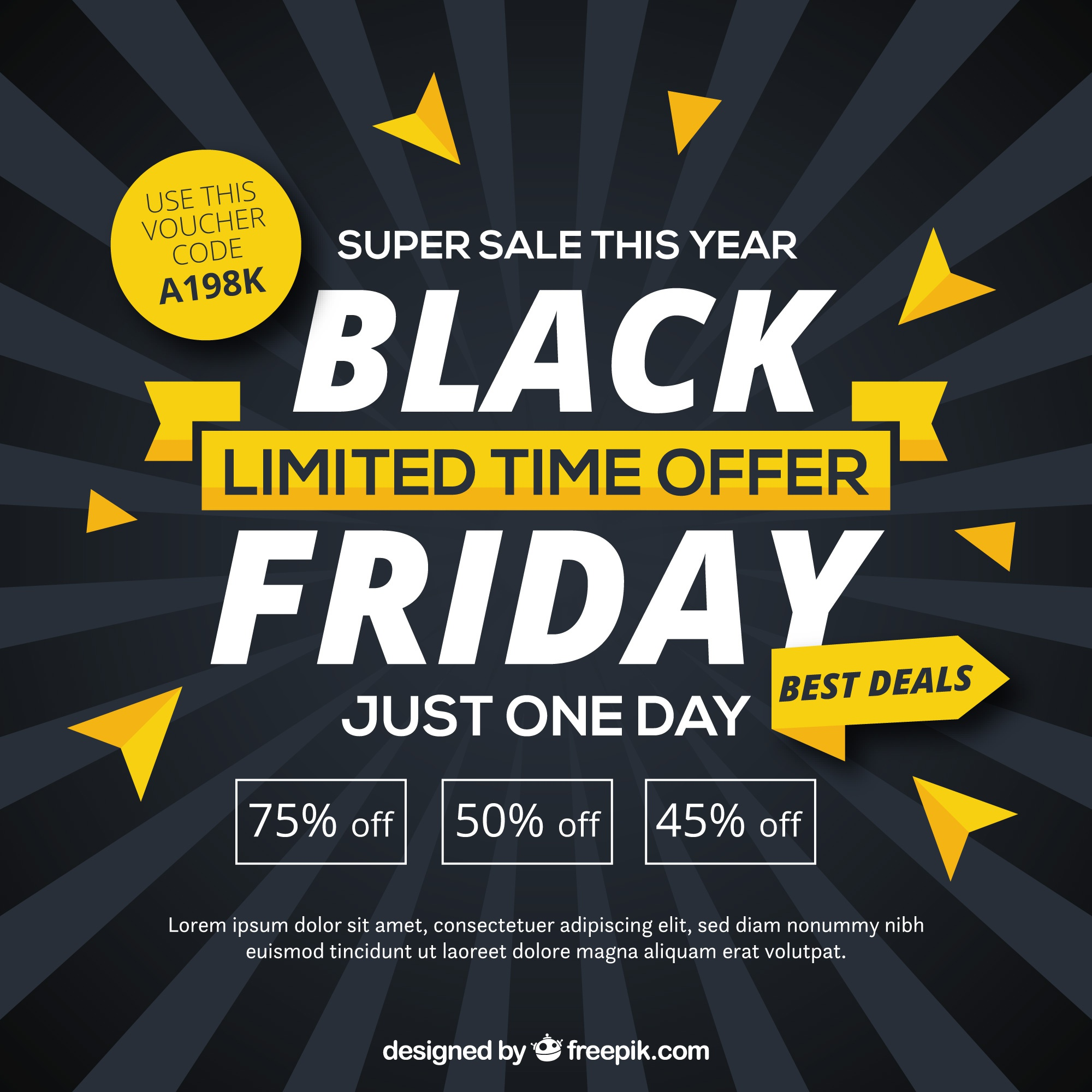 Black friday background with yellow details