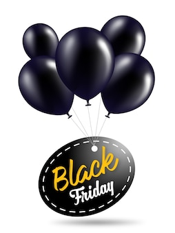 Black Friday  Banner Template with Black  Balloons