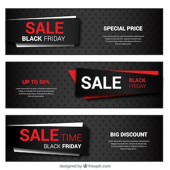 Black friday banners collection with red details