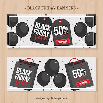 Black friday banners with balloons