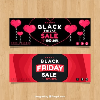 Black friday banners with hearts design