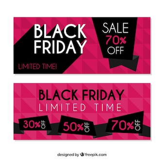 Black friday banners with pink design