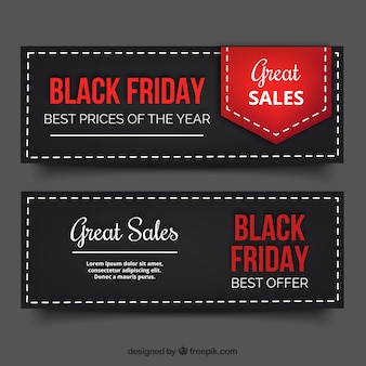 Black friday banners with red and white letters