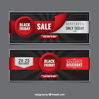Black friday banners with ribbons