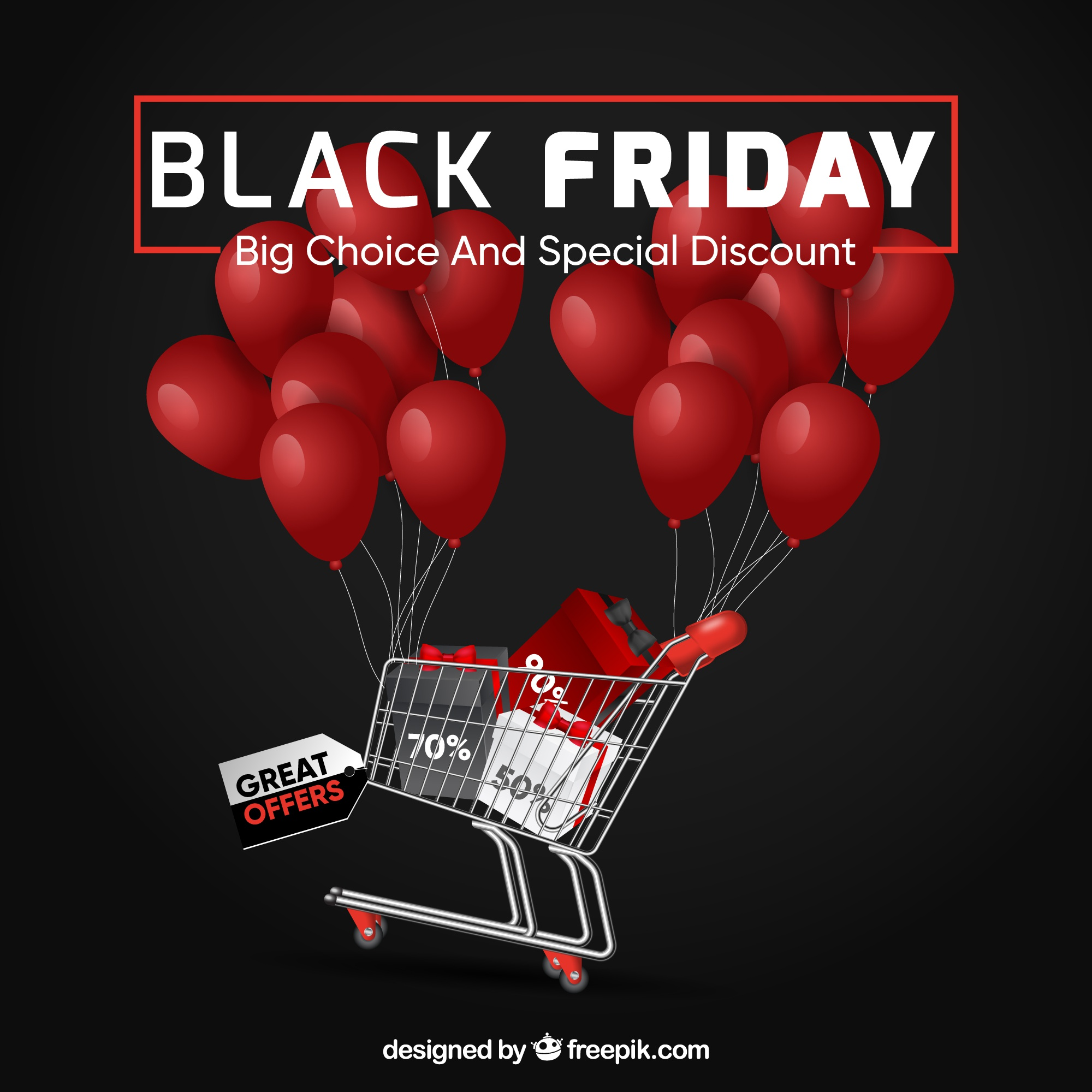 Black friday design with balloons and cart