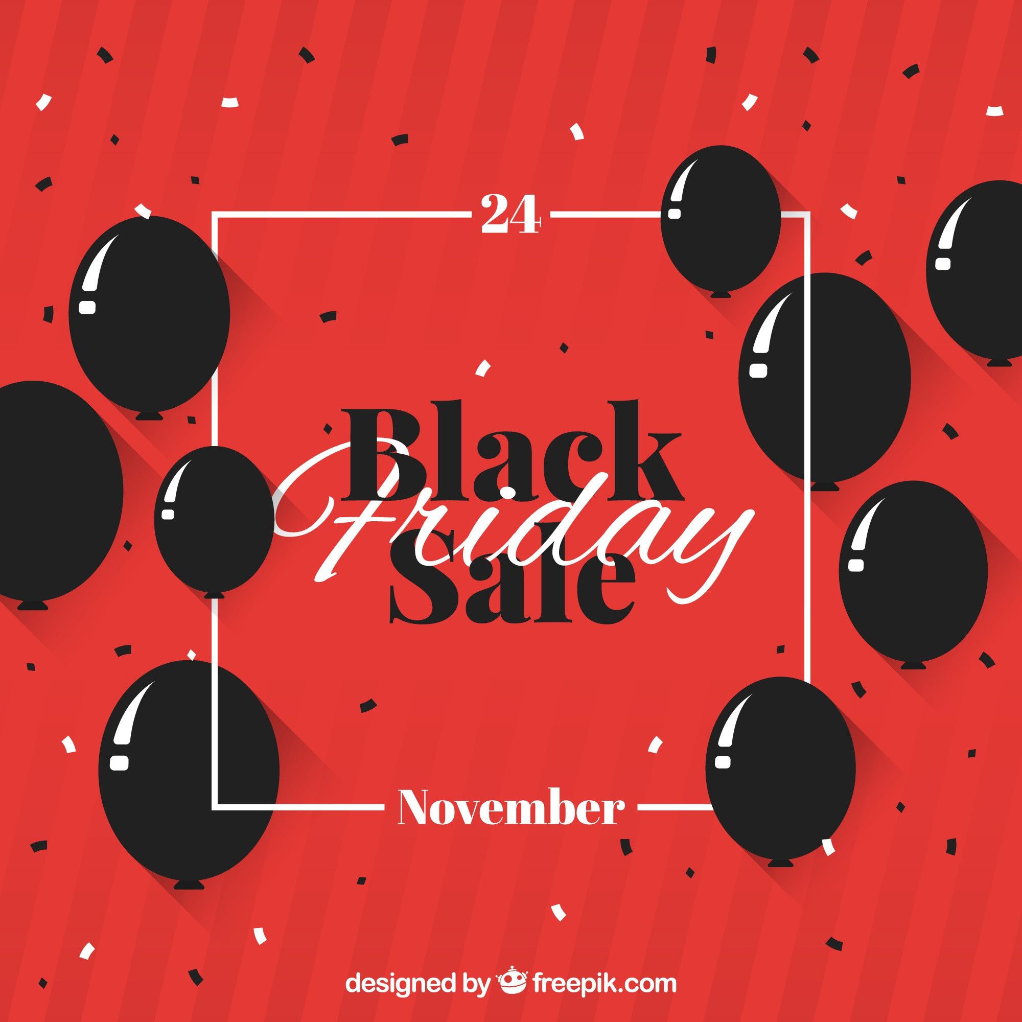 Black friday design with balloons and frame