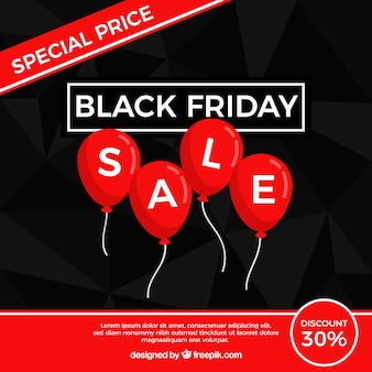 Black friday design with flat balloons