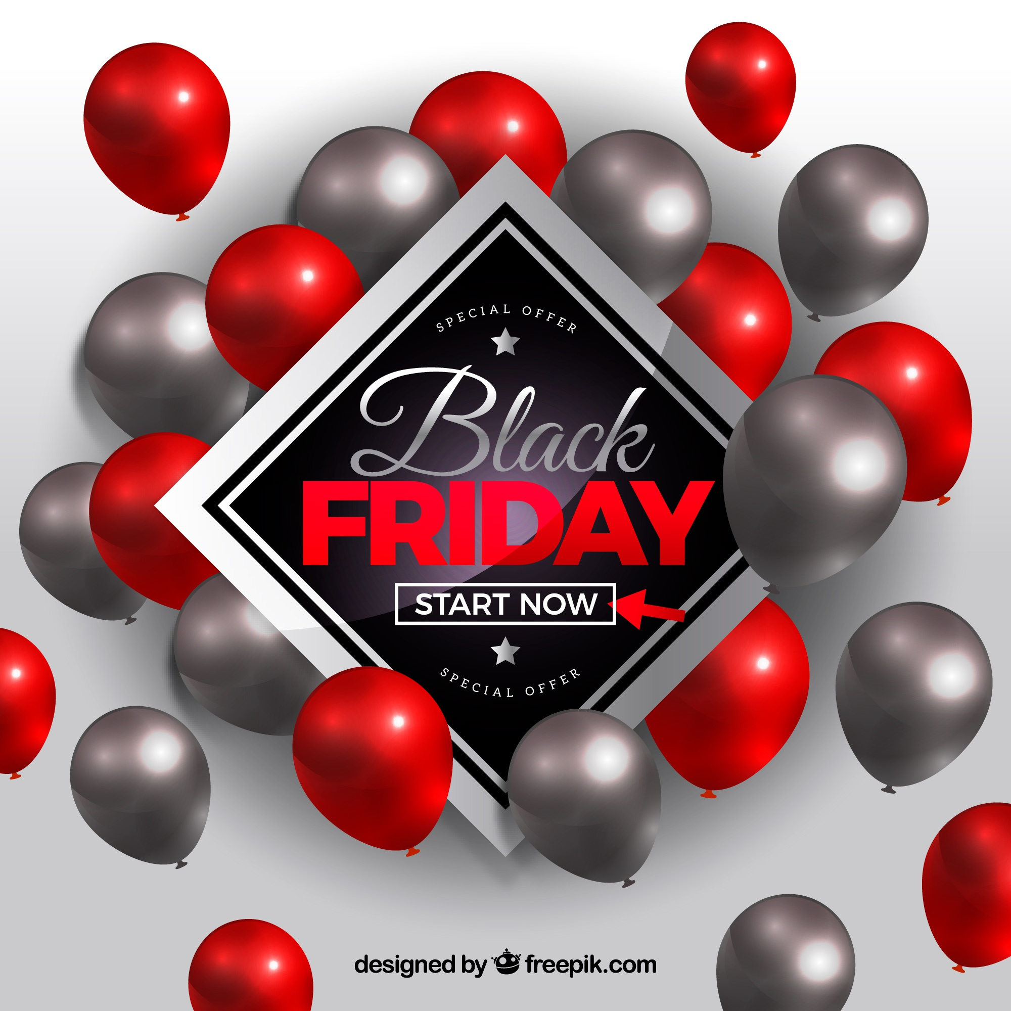 Black friday design with grey and red balloons