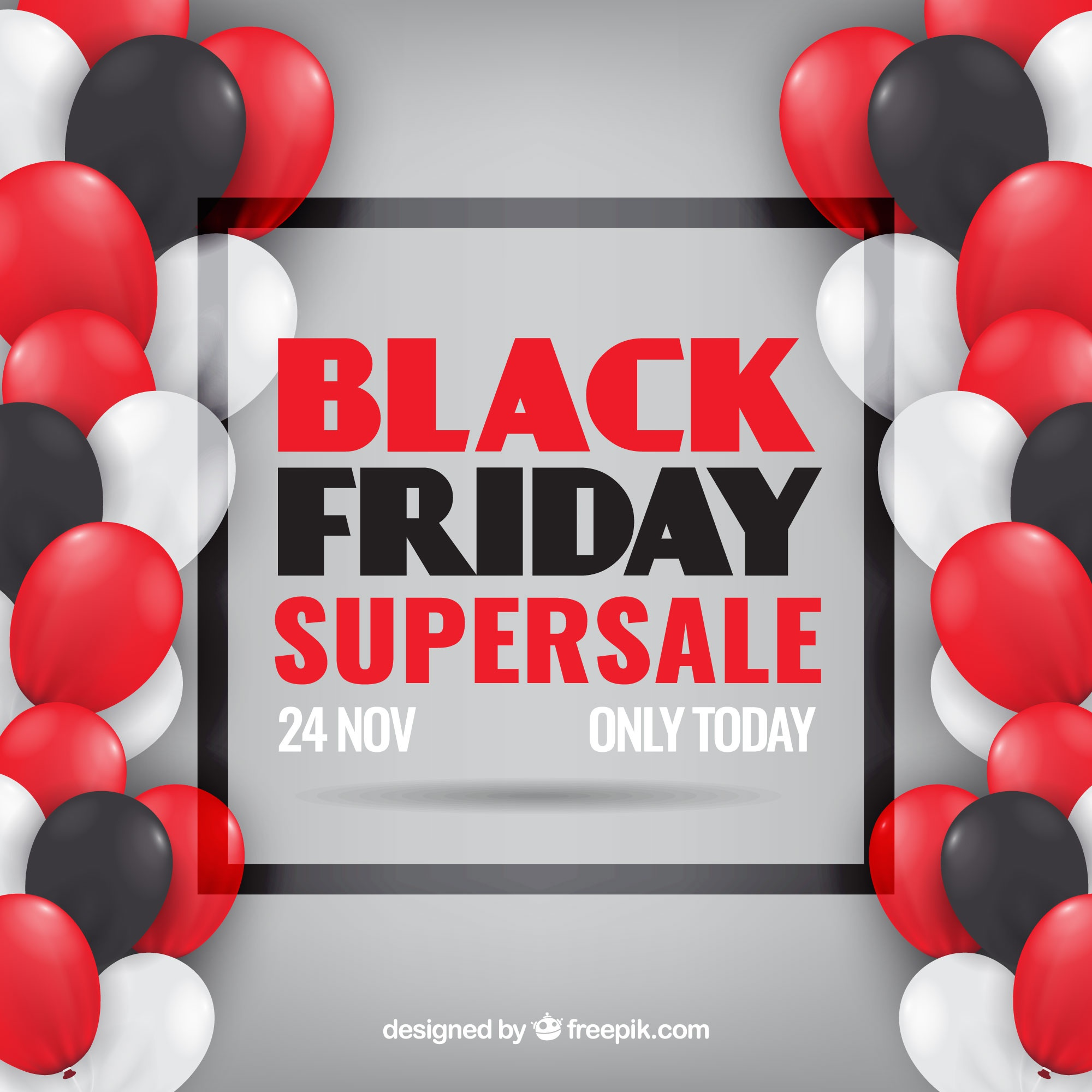 Black friday design with transparent balloons