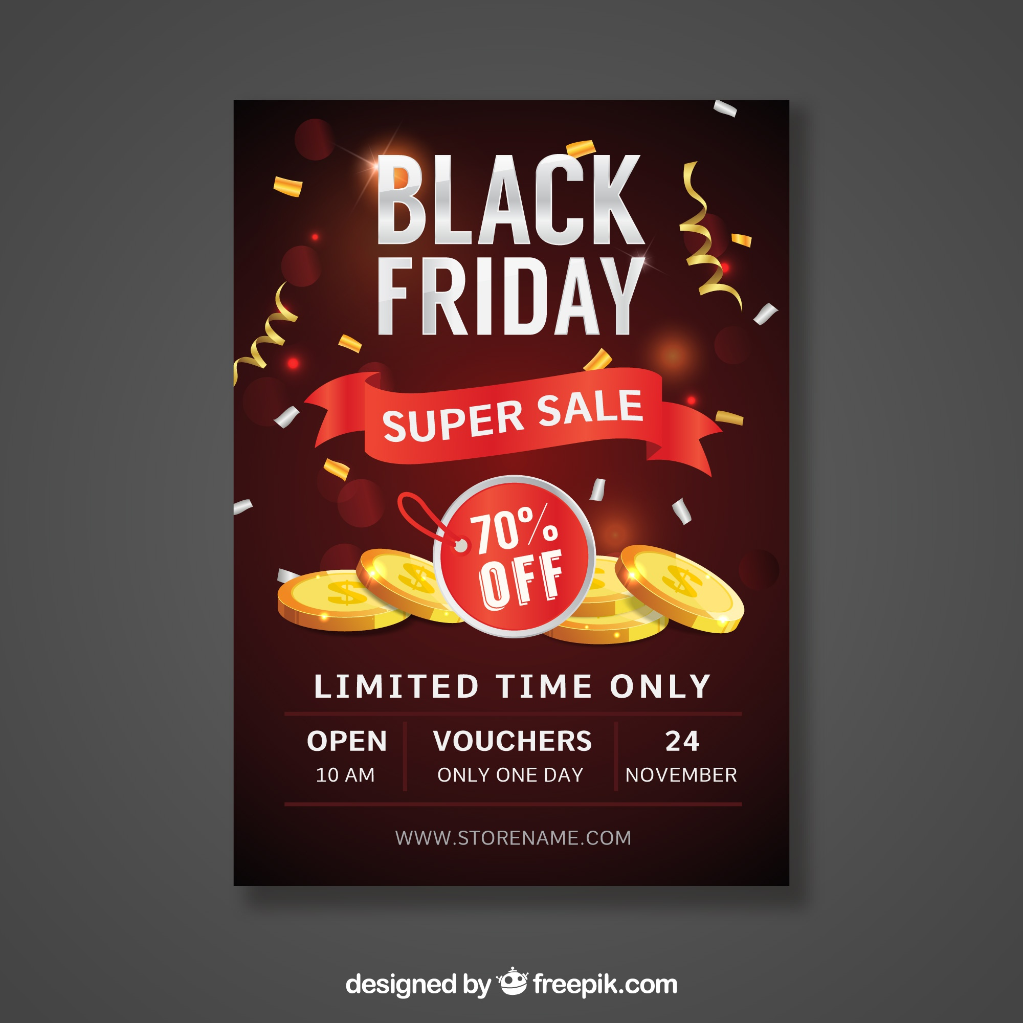 Black friday poster with coins