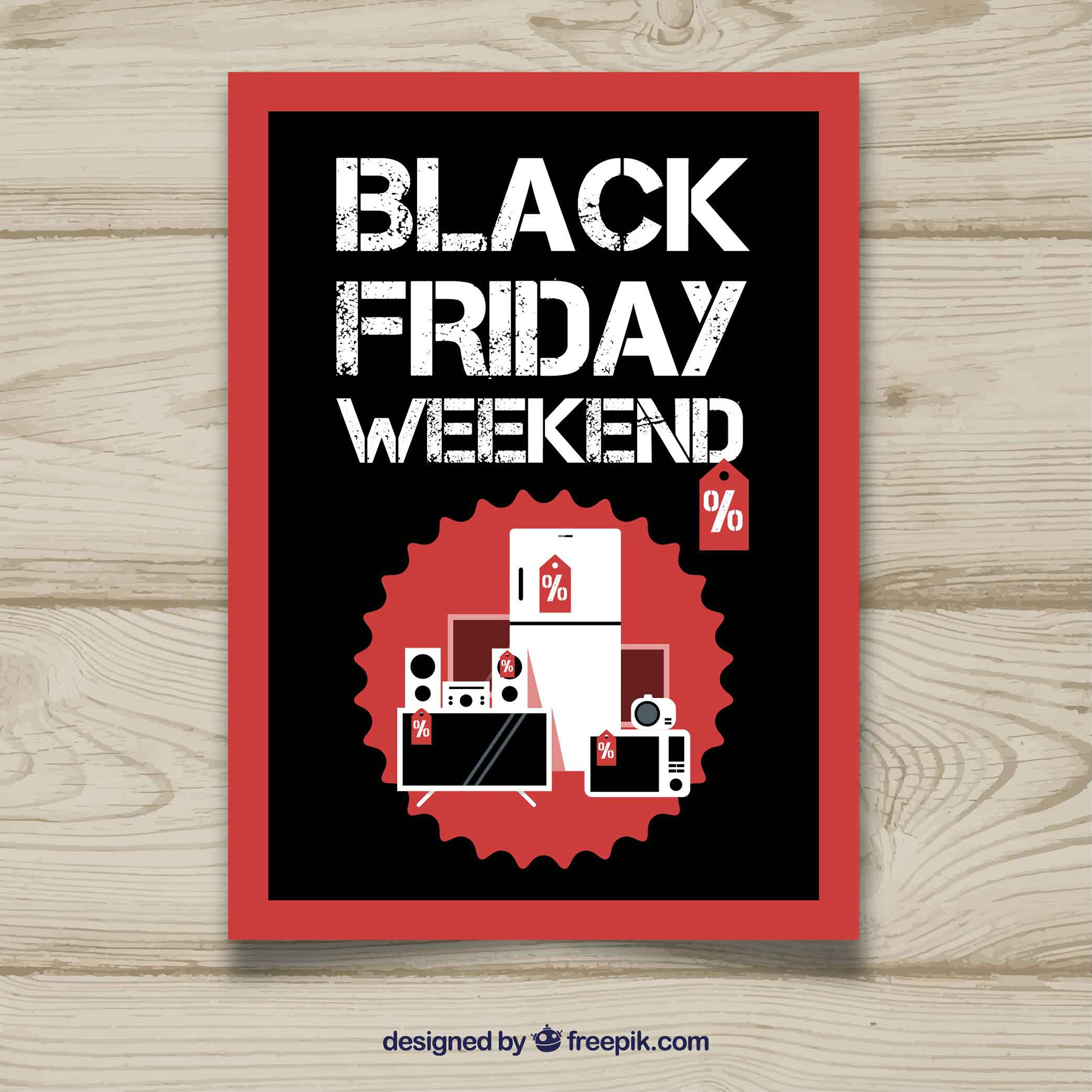 Black friday poster with flat products