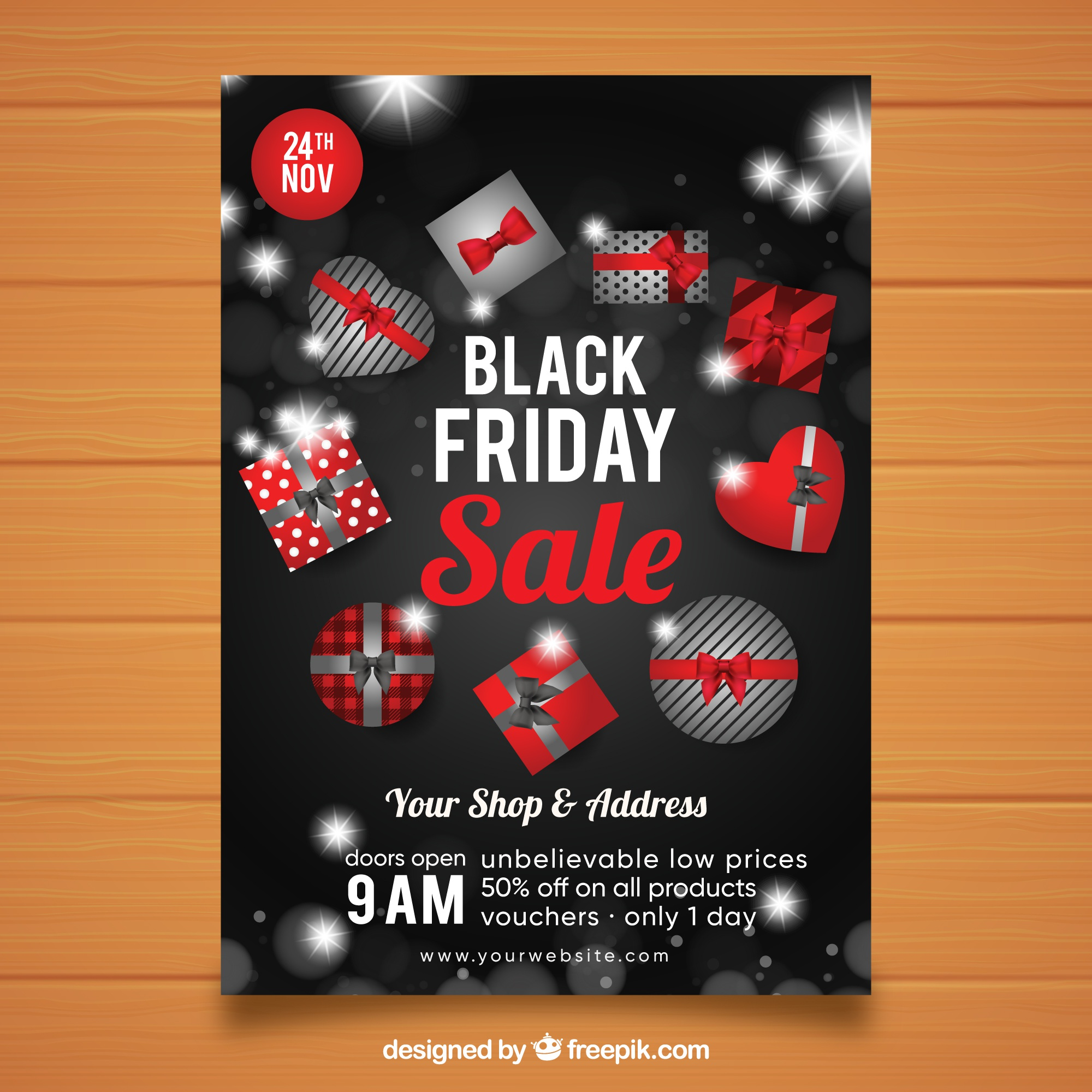 Black friday poster with gift boxes