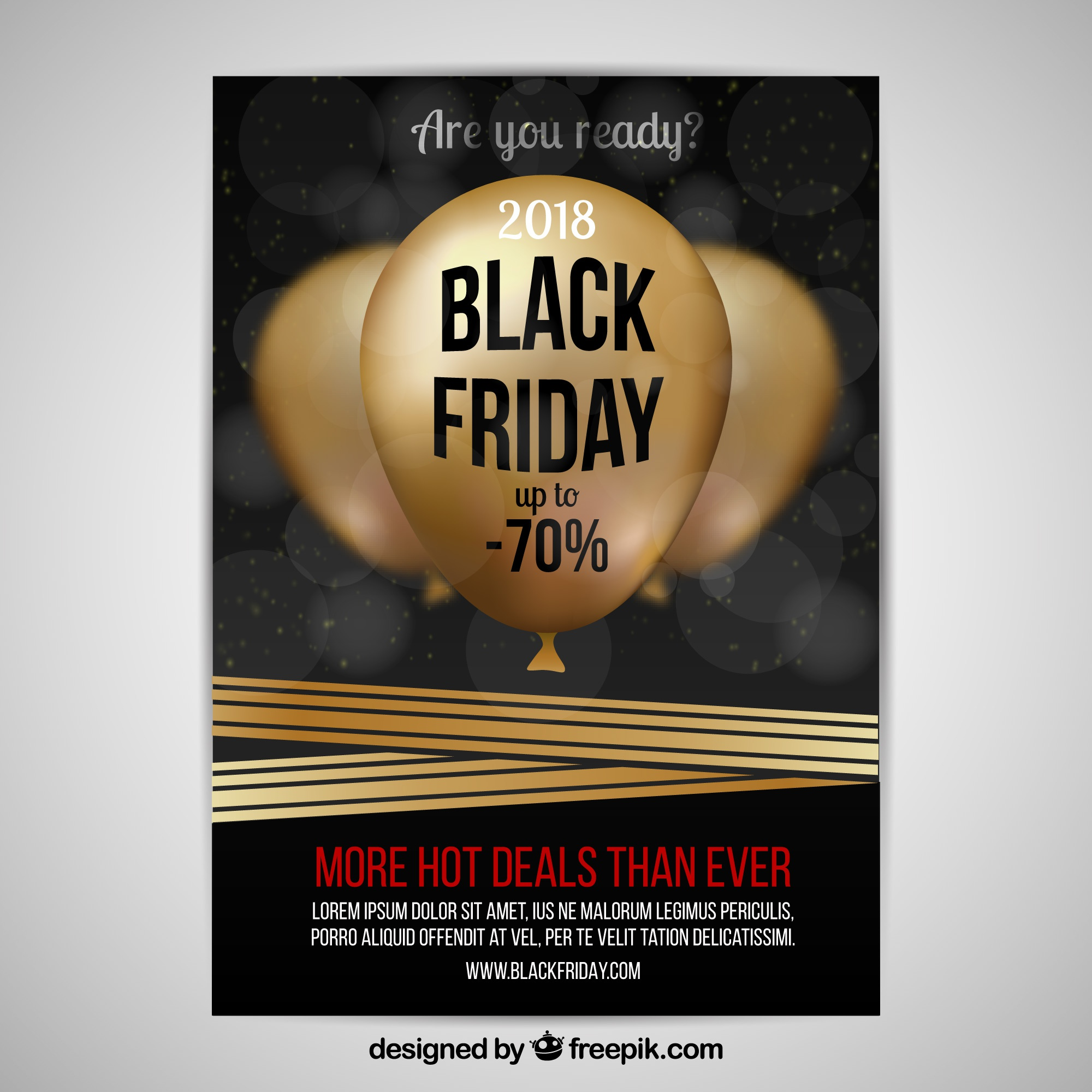 Black friday poster with golden balloons