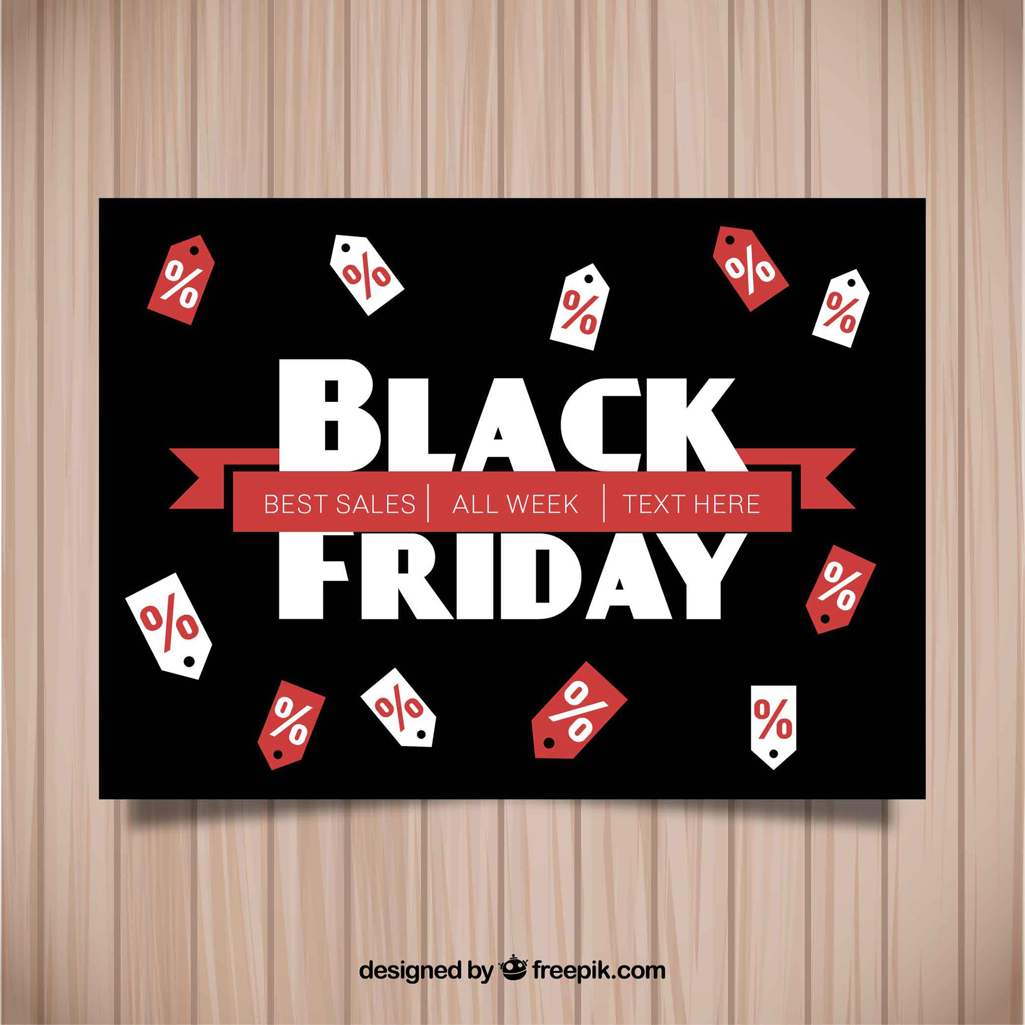 Black friday poster with labels