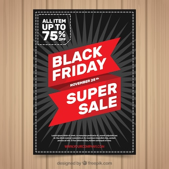 Black friday poster with red ribbon