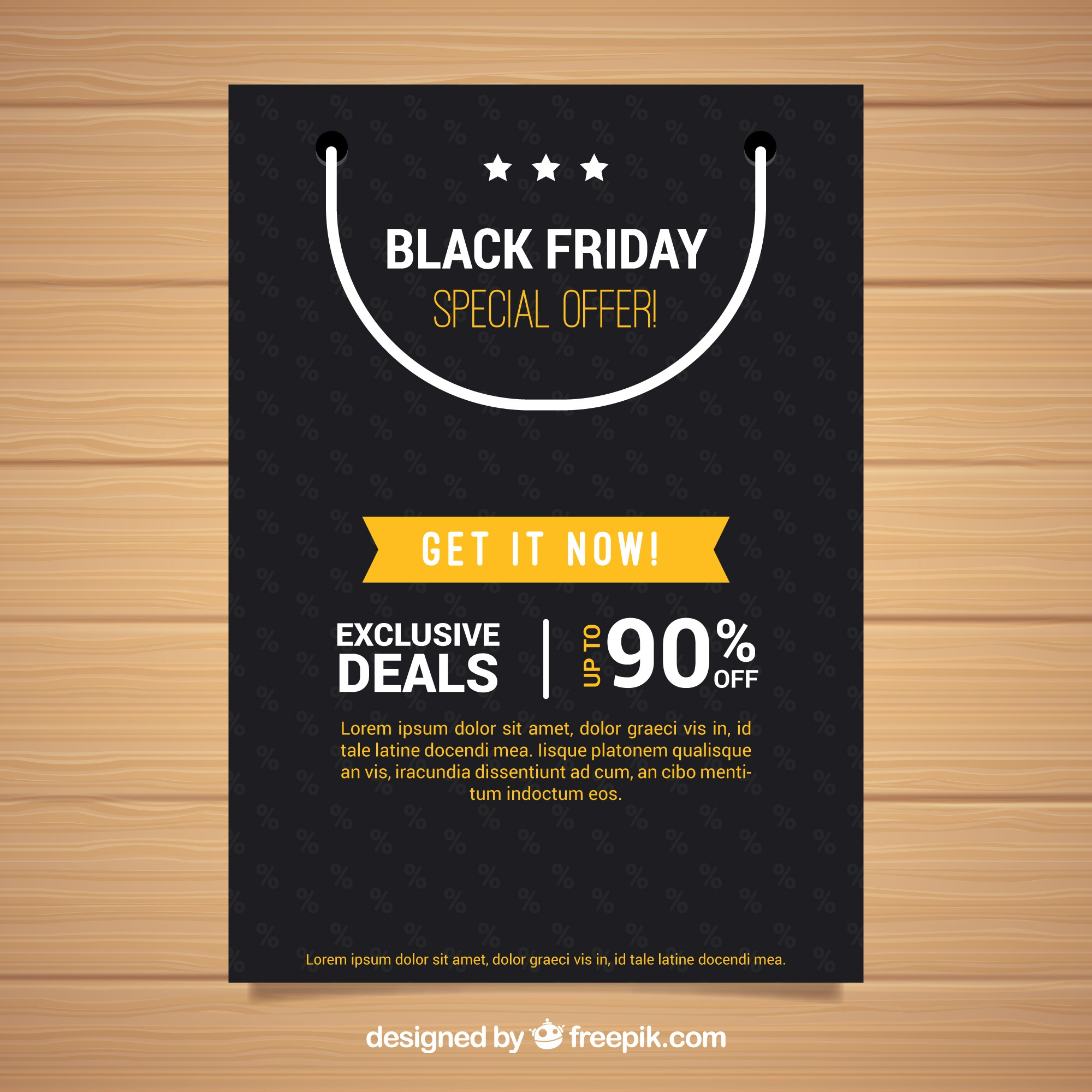 Black friday poster with shopping bag