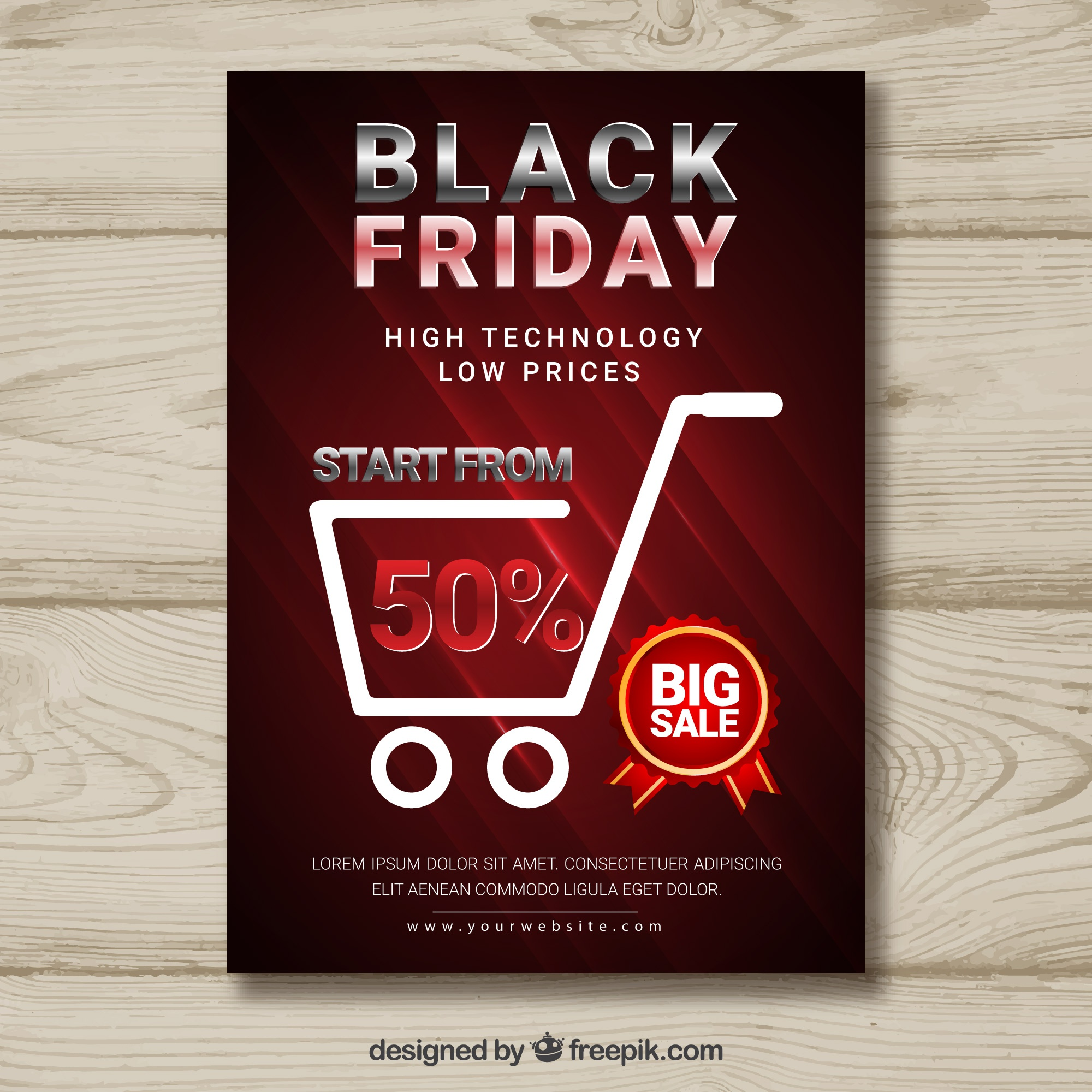 Black friday poster with shopping cart