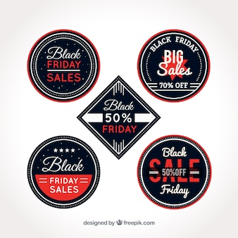 Black friday sale stickers with red and white letters