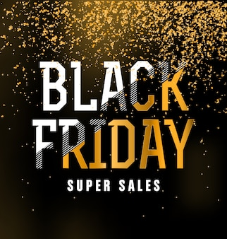 Black Friday Sale Typographic Design - Black, White, and Gold
