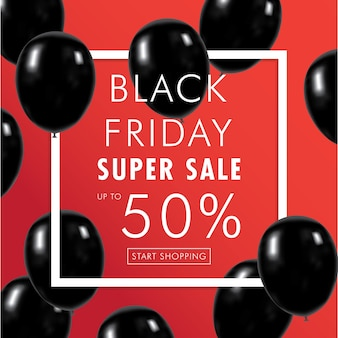 Black Friday with red Background and Flying black balloons