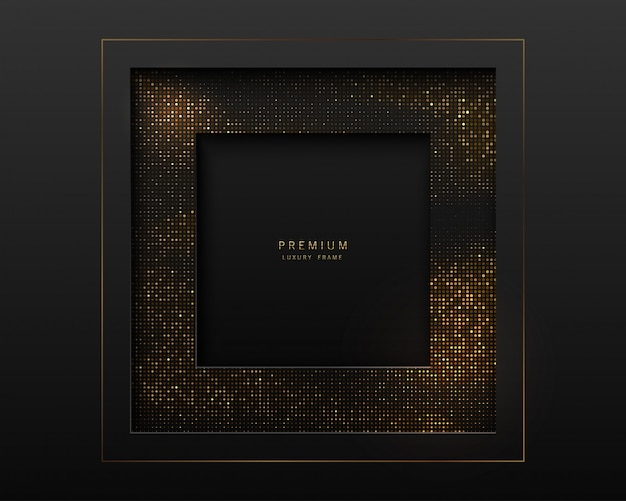 Black and gold abstract square luxury frame. sparkling sequins on black background.  label
