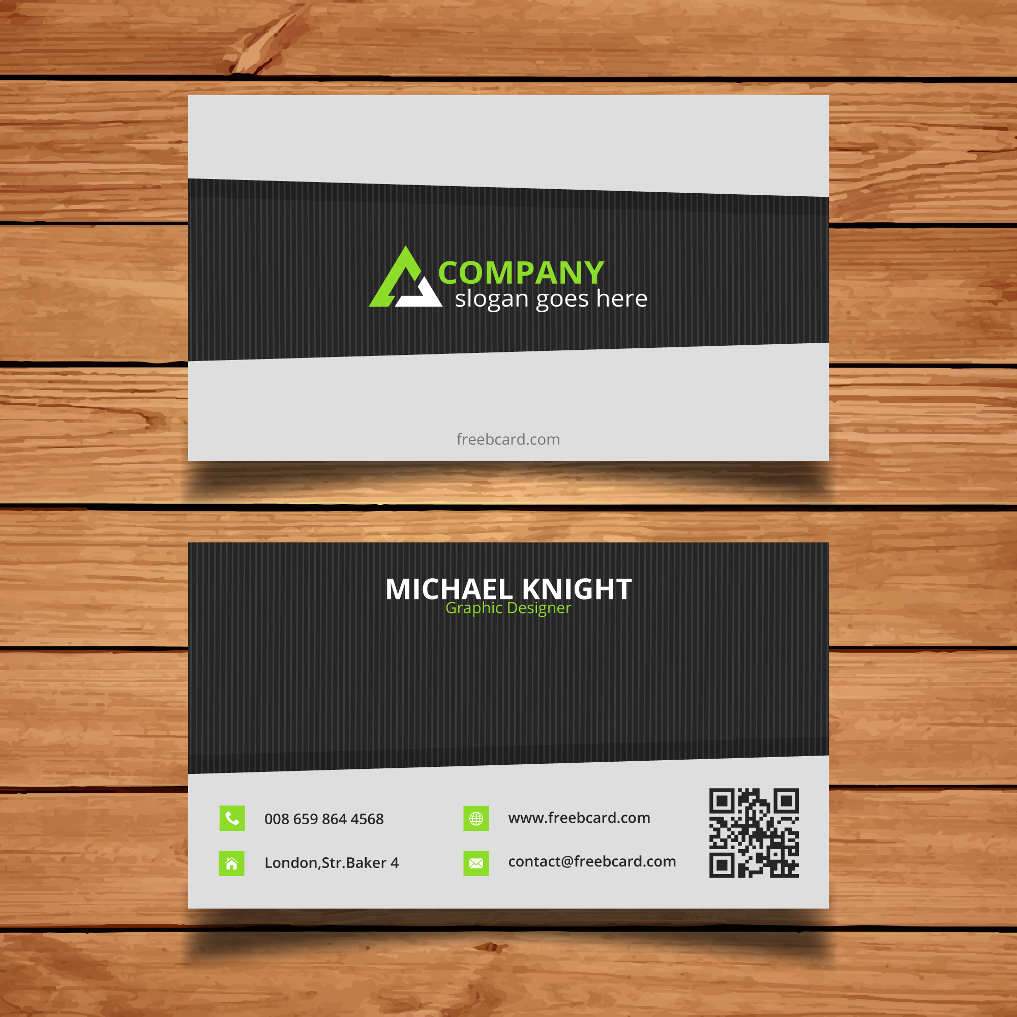 Black, gray and green corporate card