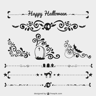 Black halloween ornaments and page dividers