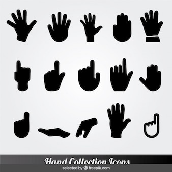 Black hand collection icons