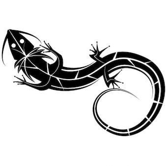 Black lizard graphic illustration