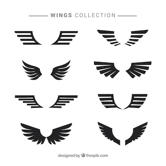 Black modern wings in flat design