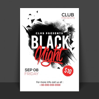 Black Night Poster, Banner or Flyer design with abstract brush strokes.