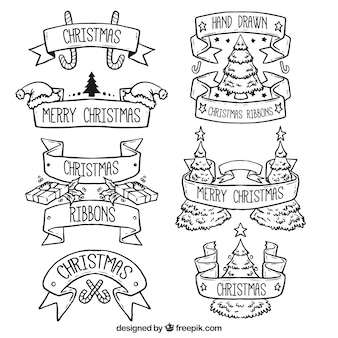 Black outlined christmas ribbons set