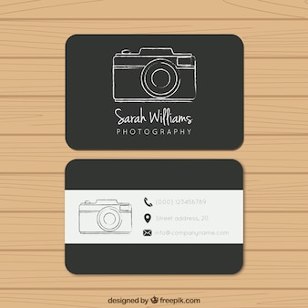 Black photography business card