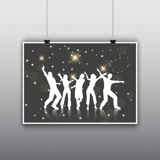 Black poster with party silhouettes