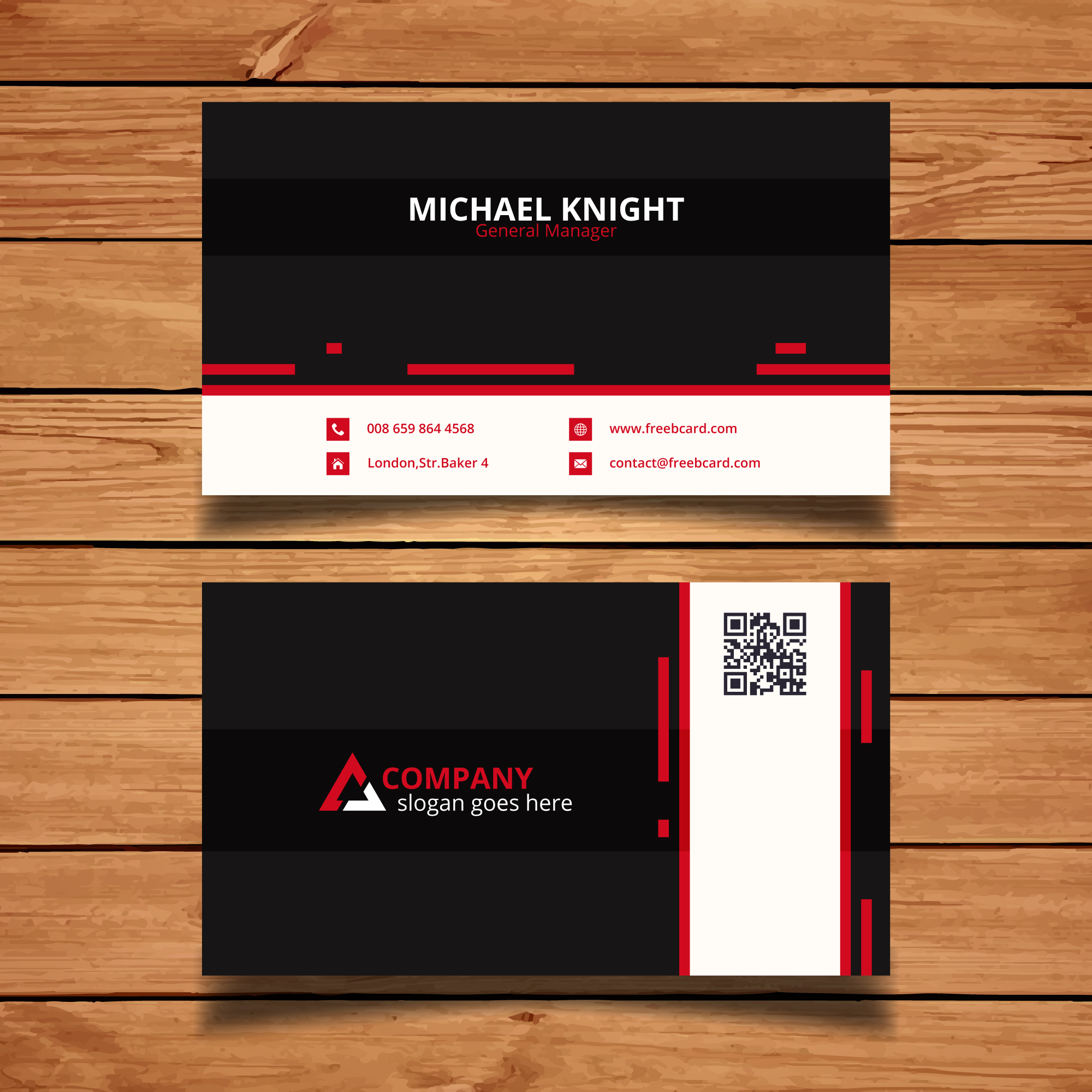 Black, red and white corporate card