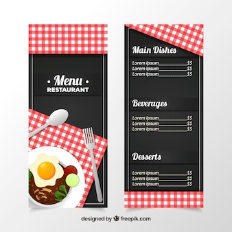 Black restaurant menu with a red tablecloth