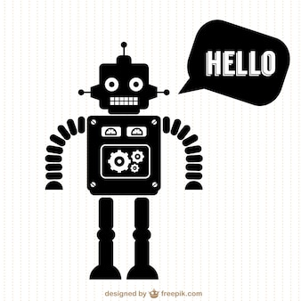 Black robot saying hello