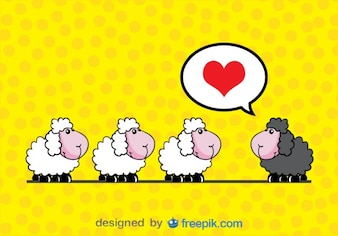 Black sheep in love with three white sheep